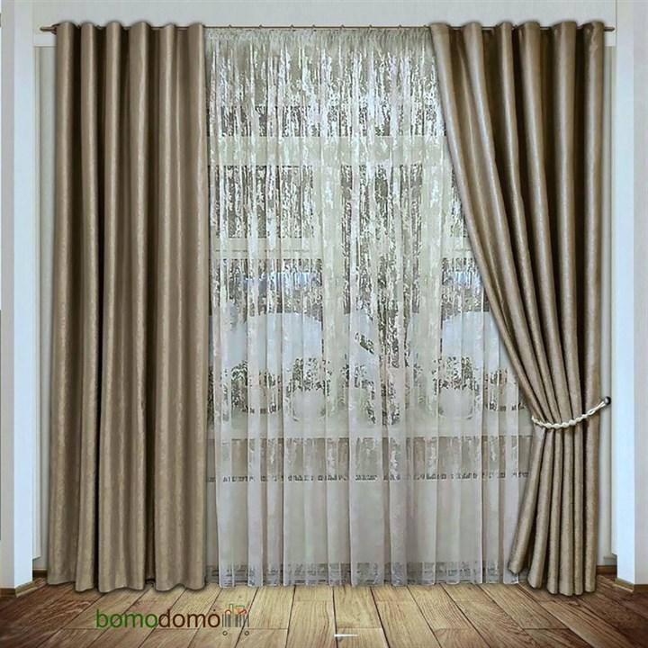 Готовые шторы Мрамор золото/беж - фото 102656