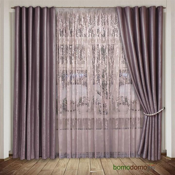Готовые шторы Мрамор припыленно-розовые - фото 102665