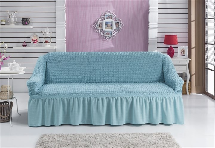 BLUE Чехол на 3-х местный диван от 170 до 240 см голубой - фото 10523