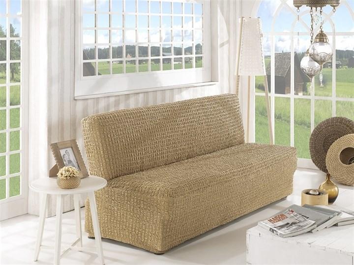 BEIGE Чехол на 2-х местный диван без подлокотников от 120 до 160 см бежевый - фото 10608
