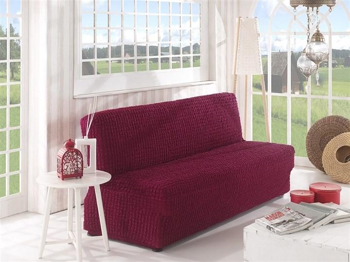 BORDO Чехол на 2-х местный диван без подлокотников от 120 до 160 см бордовый - фото 10609