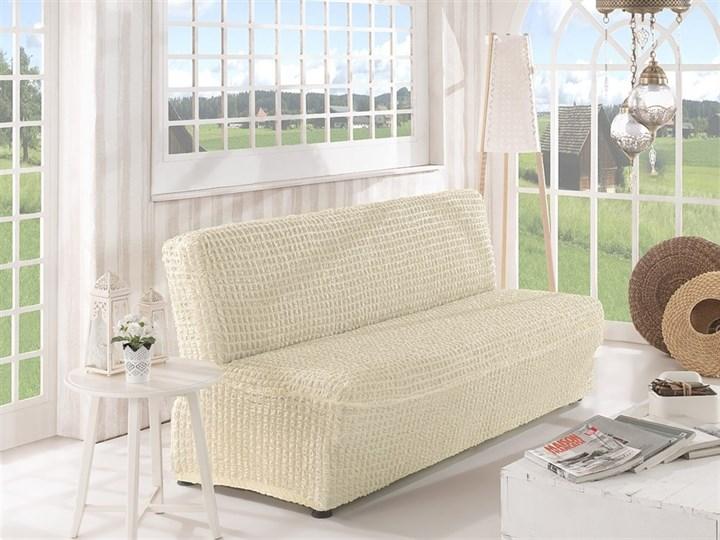 CREAM Чехол на 2-х местный диван без подлокотников от 120 до 160 см молочный - фото 10612