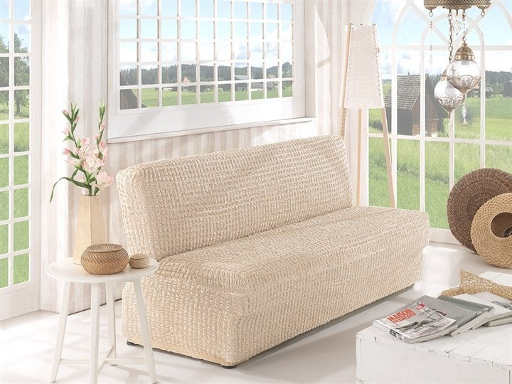 NATURAL Чехол на 2-х местный диван без подлокотников от 120 до 160 см сливочный - фото 10613