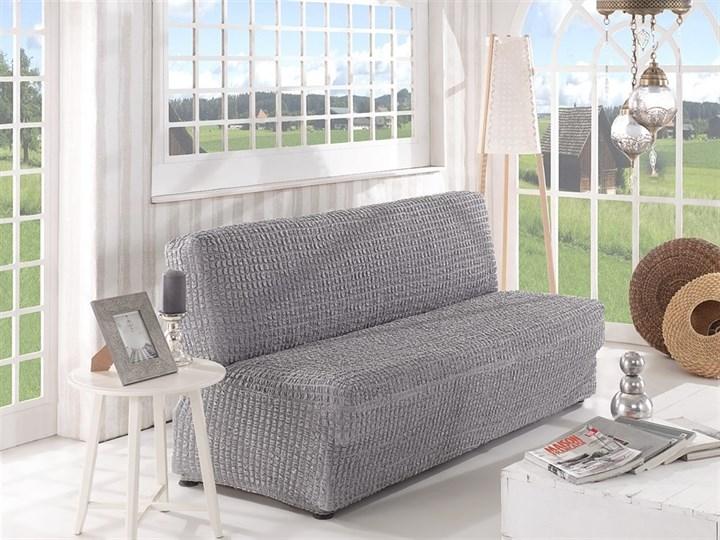 GREY Чехол на 2-х местный диван без подлокотников от 120 до 160 см серый - фото 10614