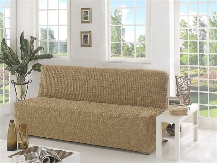 BEIGE Чехол на 3-х местный диван без подлокотников от 170 до 220 см бежевый - фото 10615