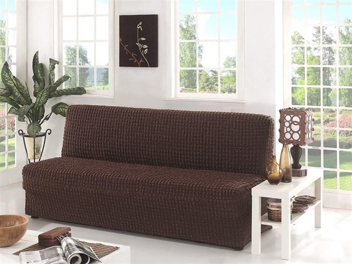 BRAUN Чехол на 3-х местный диван без подлокотников от 170 до 220 см коричневый - фото 10617