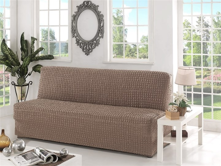 COFFEE Чехол на 3-х местный диван без подлокотников от 170 до 220 см капуччино - фото 10618
