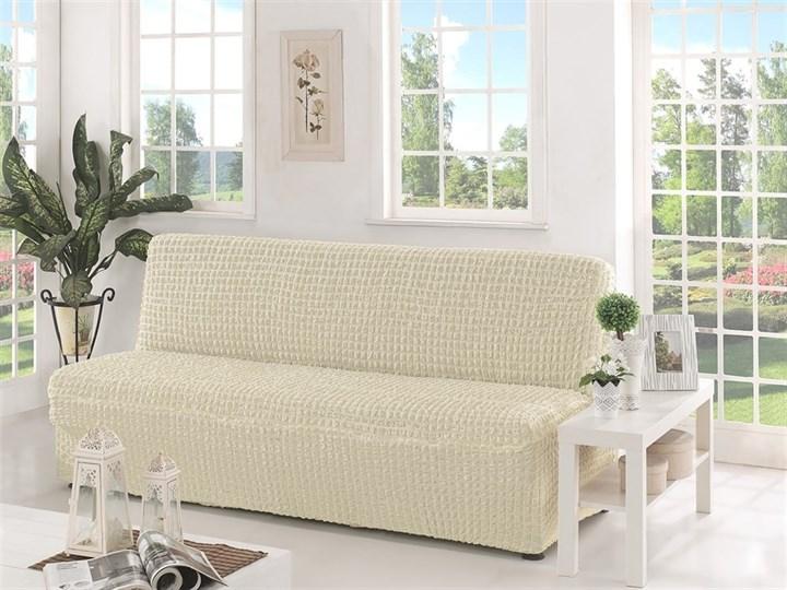 CREAM Чехол на 3-х местный диван без подлокотников от 170 до 220 см молочный - фото 10619