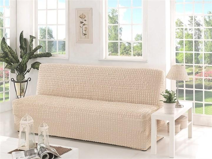 NATURAL Чехол на 3-х местный диван без подлокотников от 170 до 220 см сливочный - фото 10620