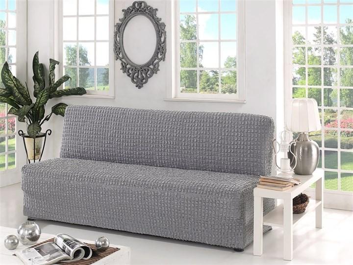 GREY Чехол на 3-х местный диван без подлокотников от 170 до 220 см серый - фото 10621