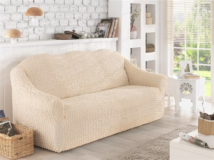 NATURAL Чехол на 2-х местный диван от 120 до 170 см сливочный - фото 10627
