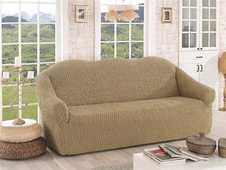 BEIGE Чехол на 3-х местный диван от 170 до 240 см бежевый - фото 10629