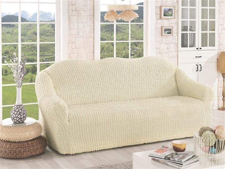 CREAM Чехол на 3-х местный диван от 170 до 240 см молочный - фото 10633