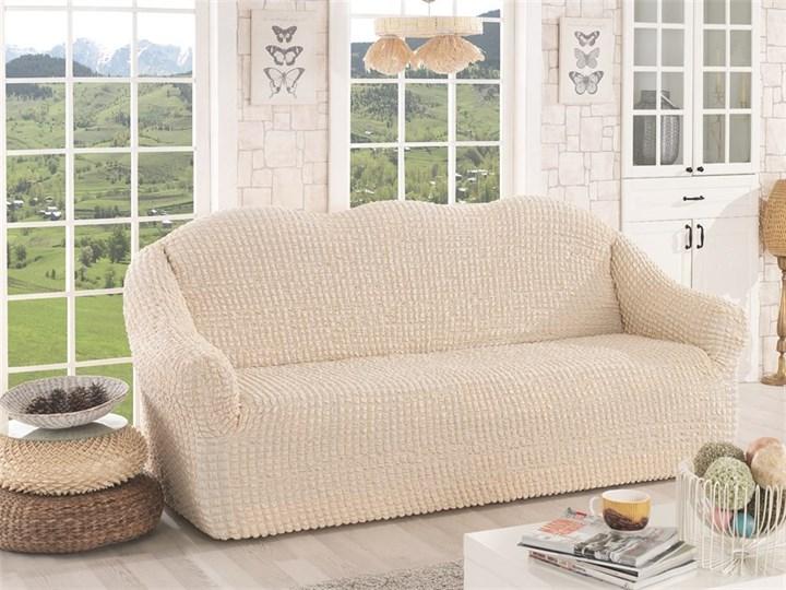 NATURAL Чехол на 3-х местный диван от 170 до 240 см сливочный - фото 10634