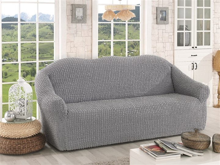 GREY Чехол на 3-х местный диван от 170 до 240 см серый - фото 10635