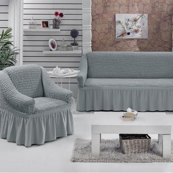 GREY Набор чехлов на диван и 2 кресла серый - фото 10643