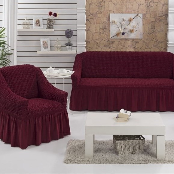 BORDO Набор чехлов на диван и 2 кресла бордовый - фото 10651