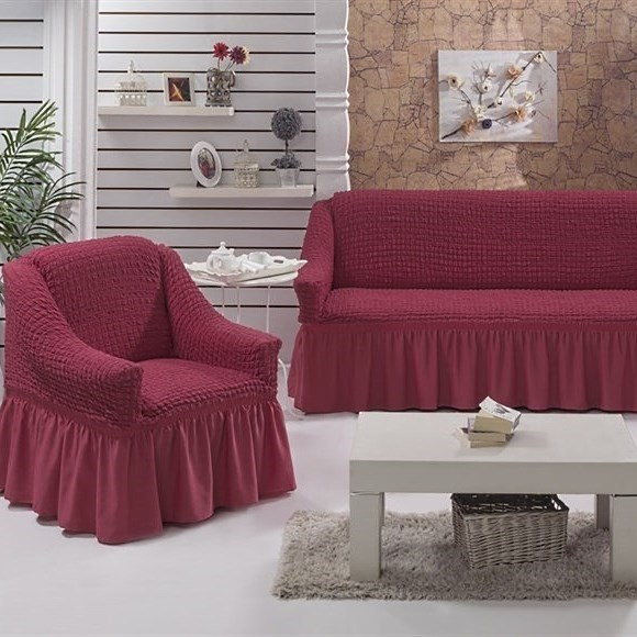 DARK ROSE Набор чехлов на диван и 2 кресла кораллово-розовый - фото 10679