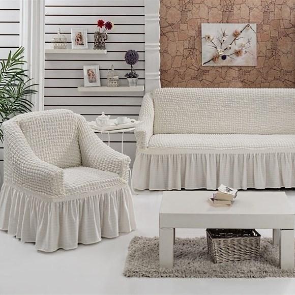 CREAM Набор чехлов на диван и 2 кресла молочный - фото 10685