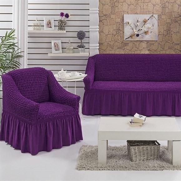 VIOLET Набор чехлов на диван и 2 кресла фиолетовый - фото 10692