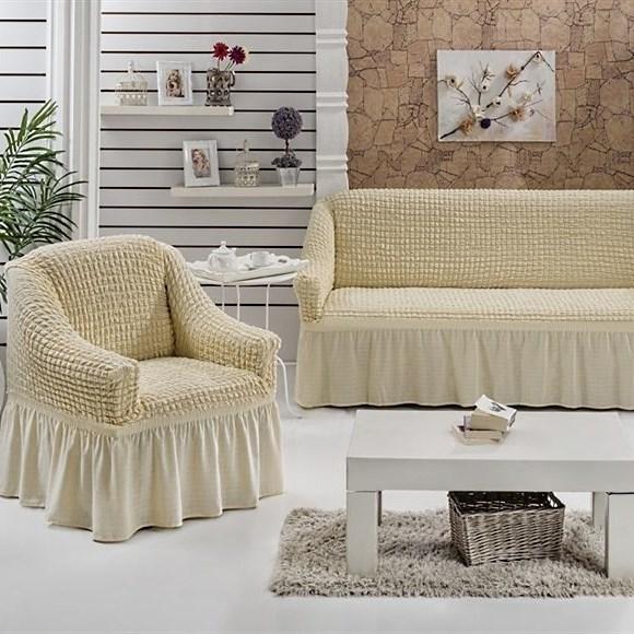 NATURAL Набор чехлов на диван и 2 кресла сливочный - фото 10699
