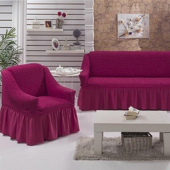 BRIGHT LAVENDER Набор чехлов на диван и 2 кресла бургундский - фото 10712