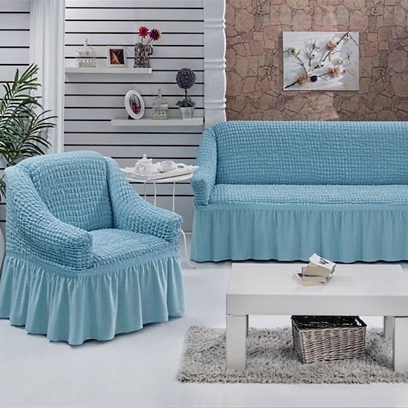 BLUE Набор чехлов на диван и 2 кресла голубой - фото 10718