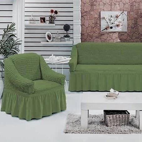 GREEN Набор чехлов на диван и 2 кресла зеленый - фото 10724