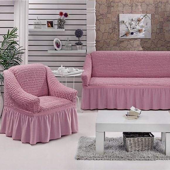 ROSE Набор чехлов на диван и 2 кресла розовый - фото 10738
