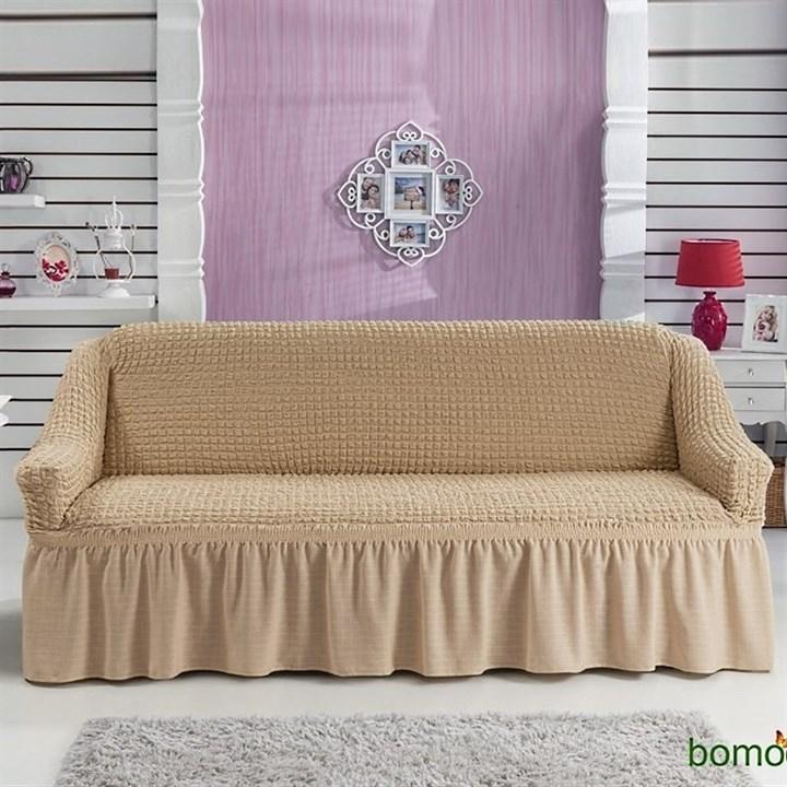 BEIGE Чехол на 3-х местный диван от 170 до 240 см бежевый - фото 10745
