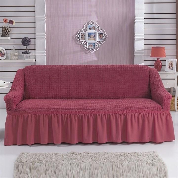 DARK ROSE Чехол на 3-х местный диван от 170 до 240 см кораллово-розовый - фото 10764