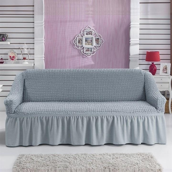 GREY Чехол на 3-х местный диван от 170 до 240 см серый - фото 10768