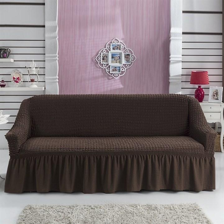BRAUN Чехол на 3-х местный диван от 170 до 240 см коричневый - фото 10778