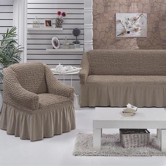 COFFEE Набор чехлов на диван и 2 кресла капуччино - фото 10783