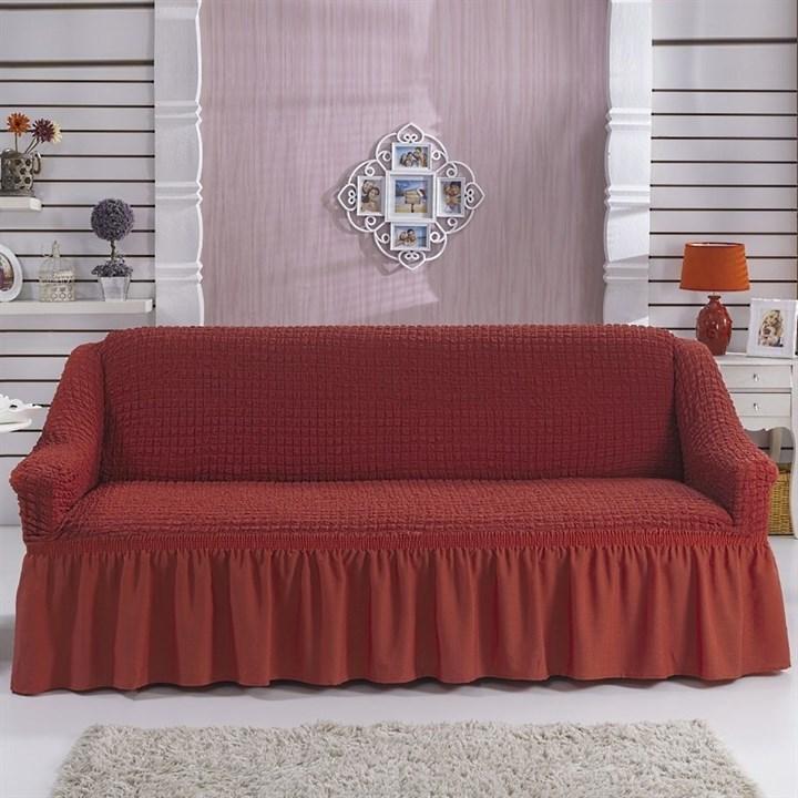 TERRACOTA Чехол на 3-х местный диван от 170 до 240 см кирпичный - фото 10790