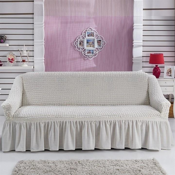 CREAM Чехол на 3-х местный диван от 170 до 240 см молочный - фото 10794