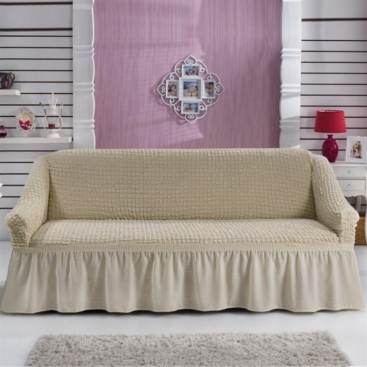 NATURAL Чехол на 3-х местный диван от 170 до 240 см сливочный - фото 10803