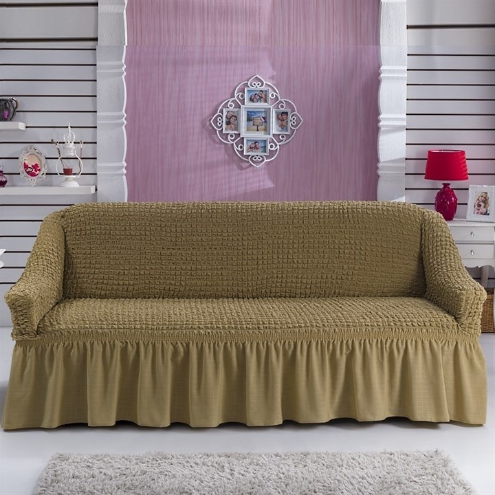 COFFEE Чехол на 3-х местный диван от 170 до 240 см капуччино - фото 10808
