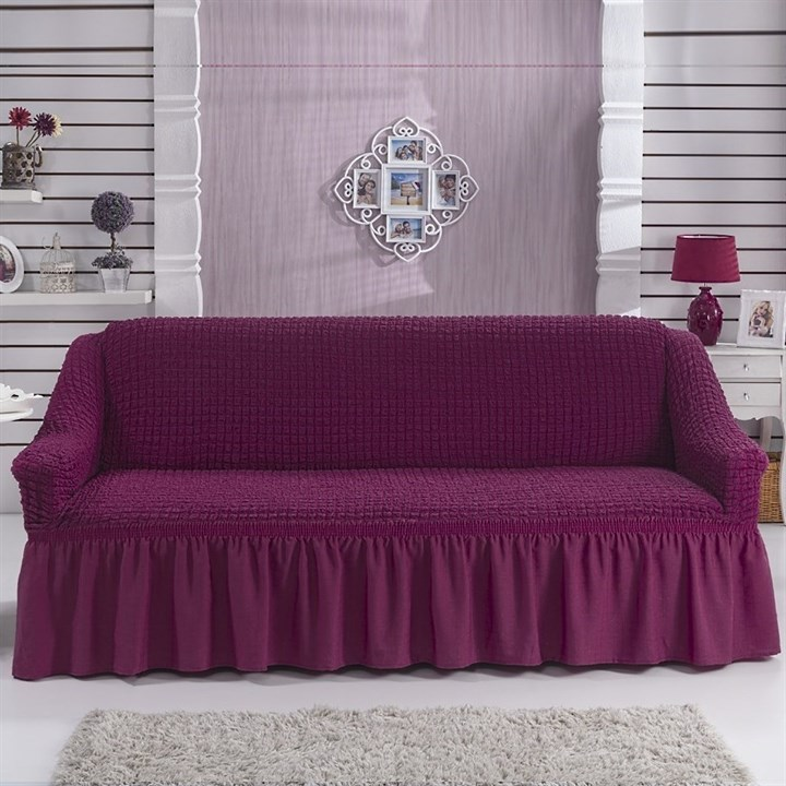 BRIGHT LAVENDER Чехол на 3-х местный диван от 170 до 240 см бургундский - фото 10813