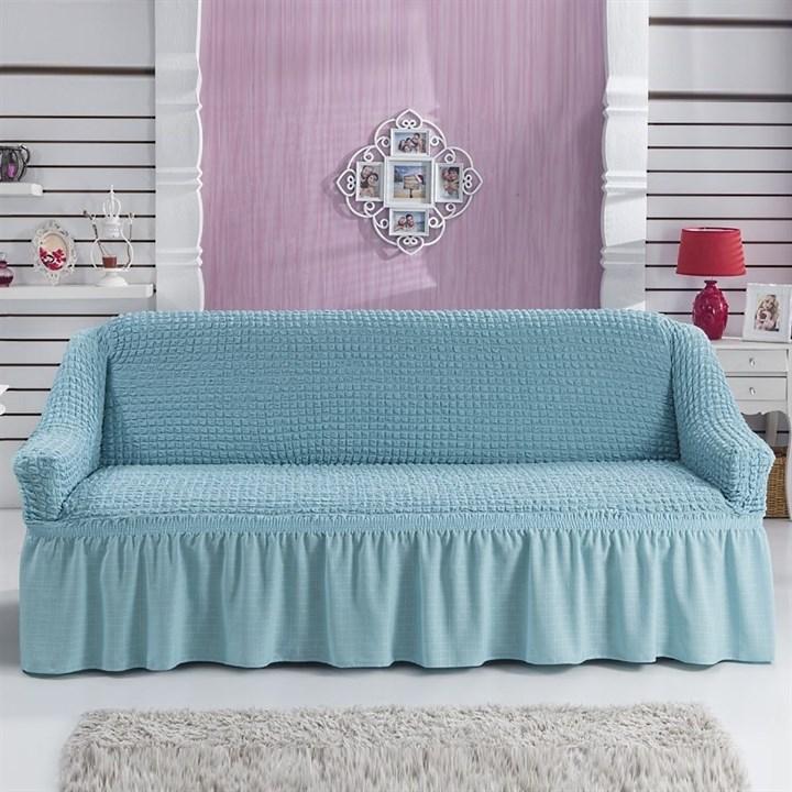 BLUE Чехол на 3-х местный диван от 170 до 240 см голубой - фото 10817