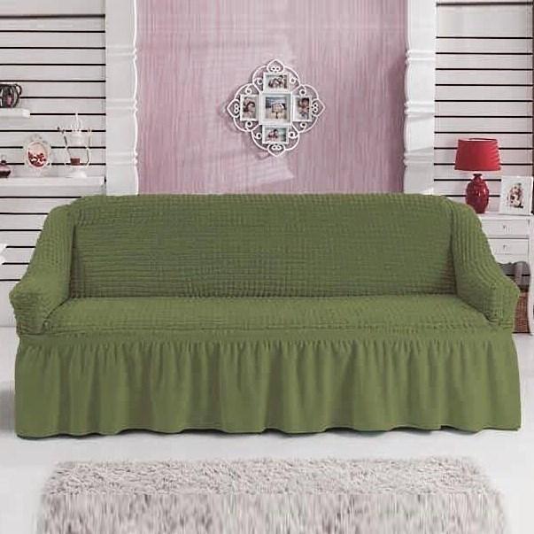 GREEN Чехол на 3-х местный диван от 170 до 240 см зеленый - фото 10821