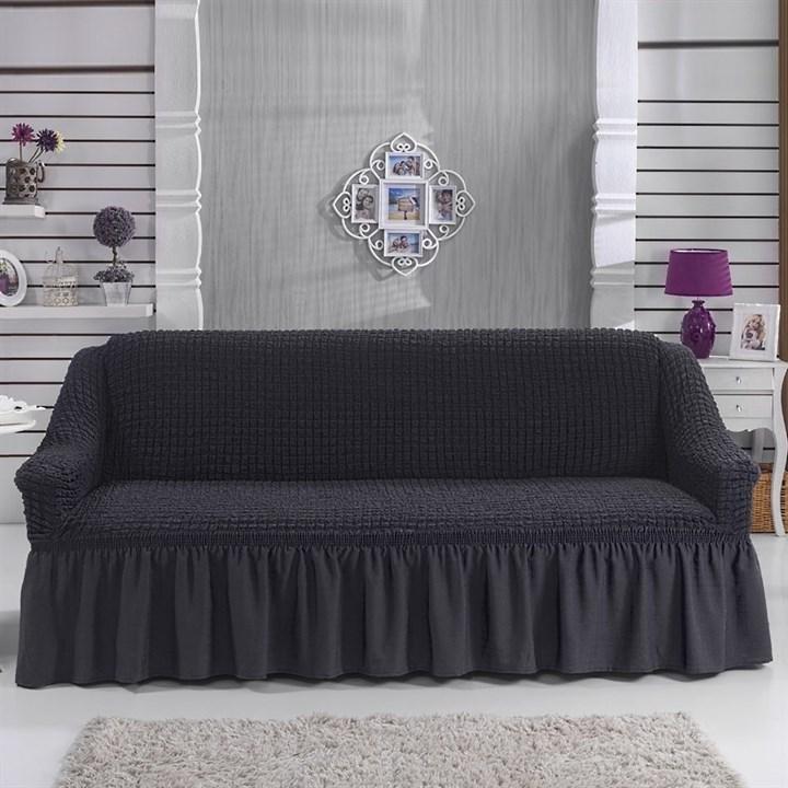 DARK GREY Чехол на 3-х местный диван от 170 до 240 см графитовый - фото 10826