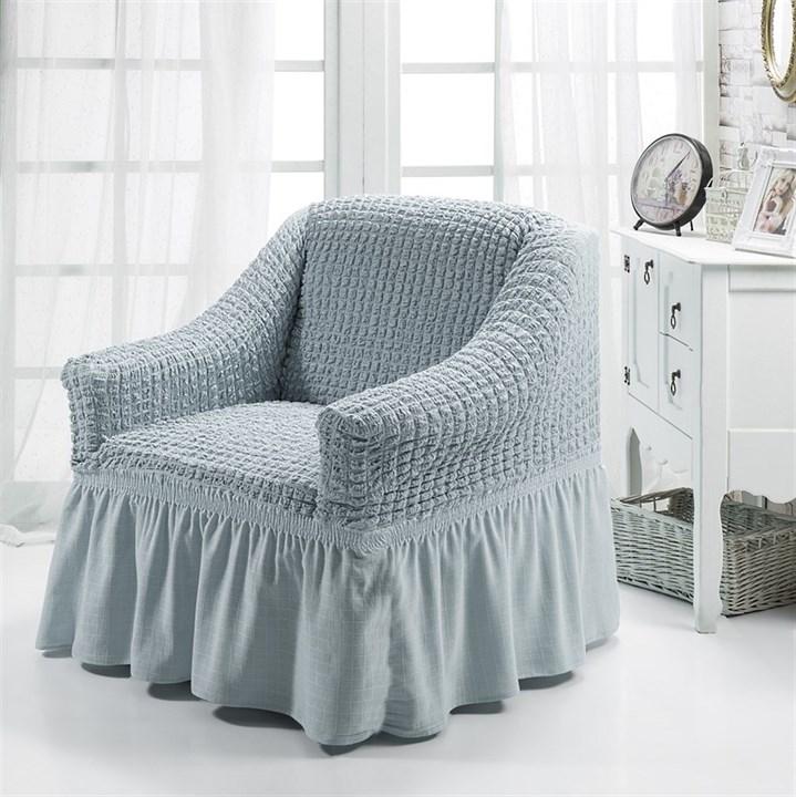 GREY Чехол для кресла от 70 до 120 см серый - фото 10854