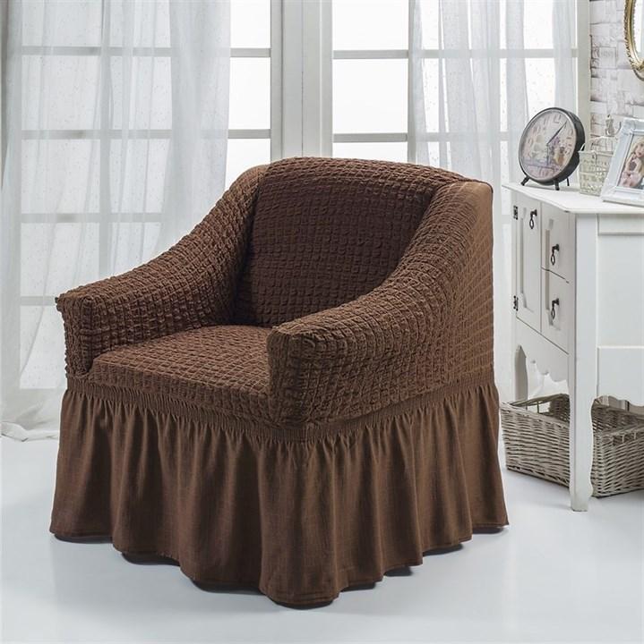BRAUN Чехол для кресла от 70 до 120 см коричневый - фото 10866