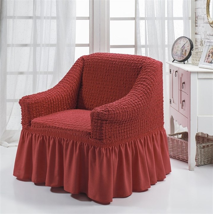 TERRACOTA Чехол для кресла от 70 до 120 см кирпичный - фото 10871