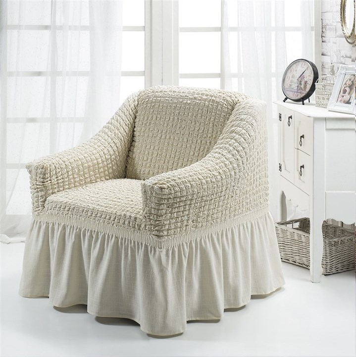 CREAM Чехол для кресла от 70 до 120 см молочный - фото 10876