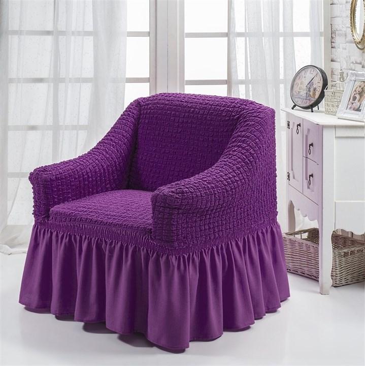 VIOLET Чехол для кресла от 70 до 120 см фиолетовый - фото 10881