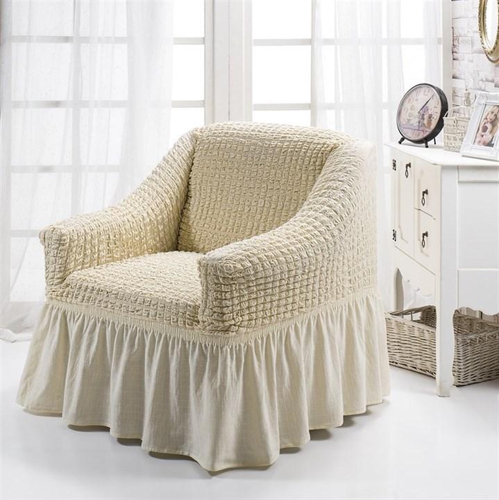 NATURAL Чехол для кресла от 70 до 120 см сливочный - фото 10886