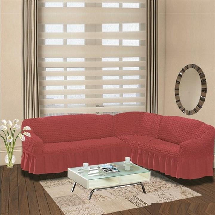 DARK ROSE Чехол на классический угловой диван от 350 до 470 см правосторонний кораллово-розовый - фото 10923