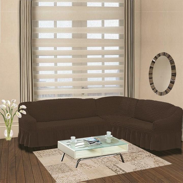 BRAUN Чехол на классический угловой диван от 350 до 470 см правосторонний коричневый - фото 10927